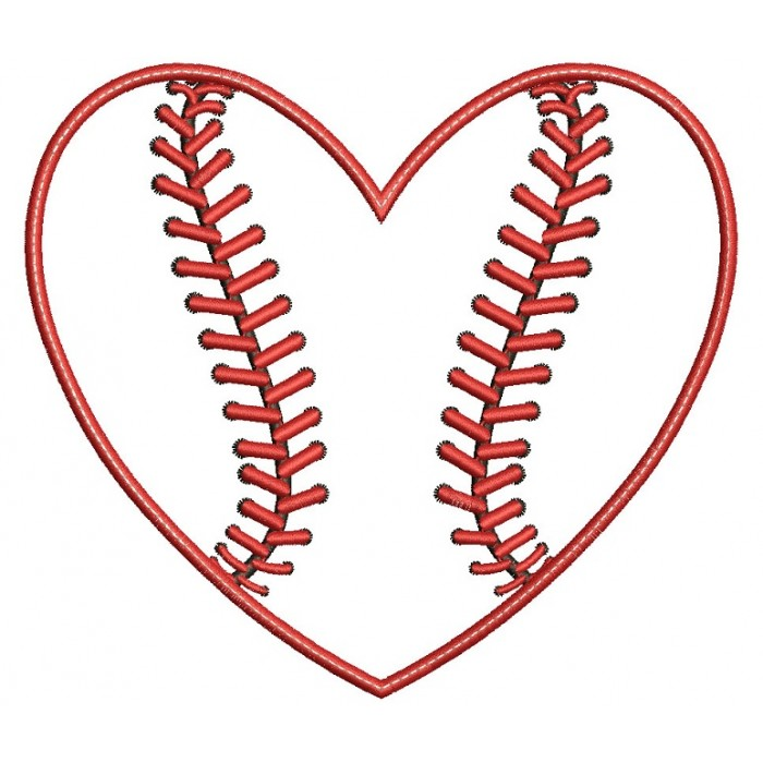 Baseball with Bean Stitch Sports Applique Machine Embroidery Digitized Design Pattern
