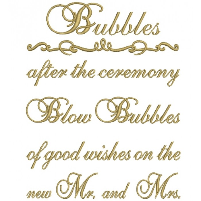 Blow Bubbles after the ceremony Filled Machine Embroidery Digitized Design Pattern