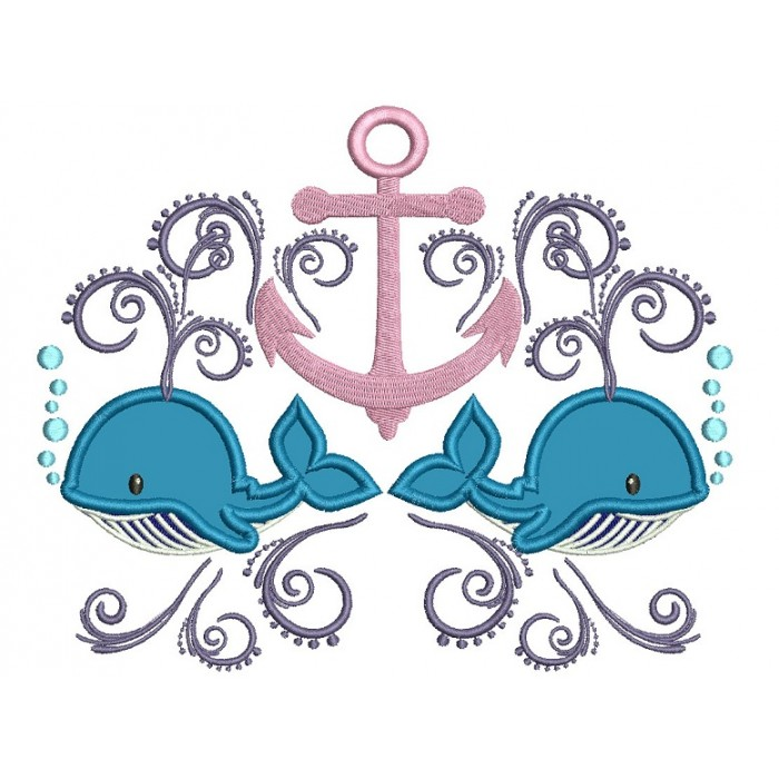 Boat Anchor and Two Whales Marine Applique Machine Embroidery Digitized Design Pattern