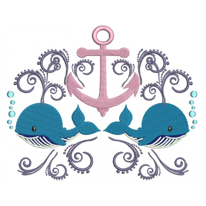 Boat Anchor and Two Whales Marine Filled Machine Embroidery Digitized Design Pattern