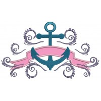 Boat Anchor with a Fancy Banner Applique Machine Embroidery Digitized Design Pattern
