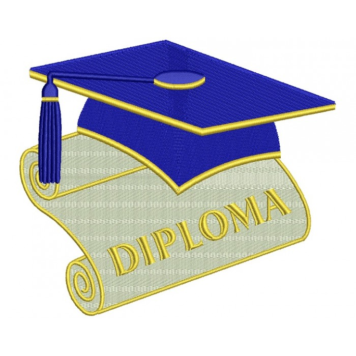 Diploma Graduation Filled Machine Embroidery Digitized Design Pattern