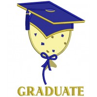 Graduate Baloon Wearing Cap School Applique Machine Embroidery Digitized Design Pattern