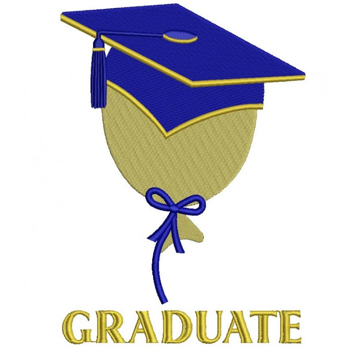 Graduate Baloon Wearing Cap School Filled Machine Embroidery Digitized Design Pattern
