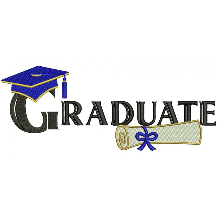 Graduate Diploma School Filled Machine Embroidery Digitized Design Pattern