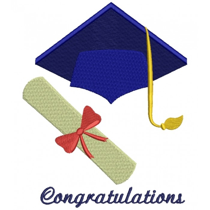 Graduation Cap with Diploma School Filled Machine Embroidery Digitized Design Pattern