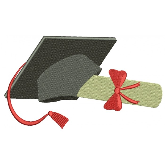 Graduation Cap with Ribbon School Filled Machine Embroidery Digitized Design Pattern