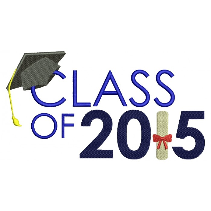 Graduation Class of 2015 School Filled Machine Embroidery Digitized Design Pattern