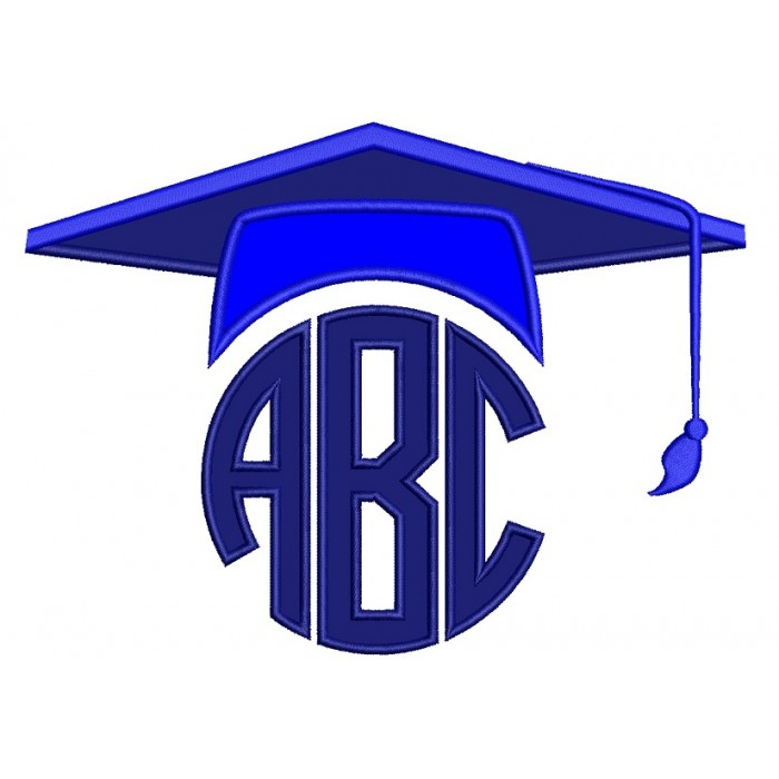 Graduation Monogram Cap School Applique Machine Embroidery Digitized Design Pattern