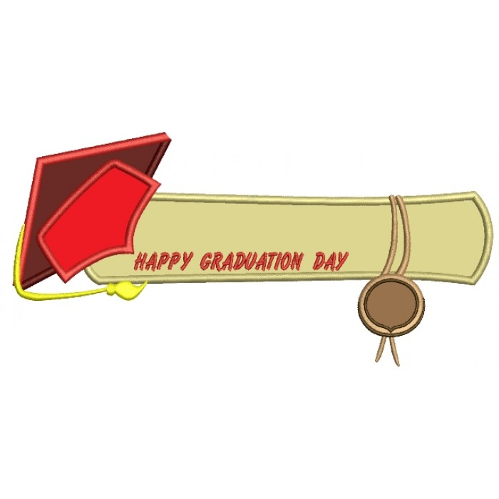 Happy Graduation Day School Applique Machine Embroidery Digitized Design Pattern