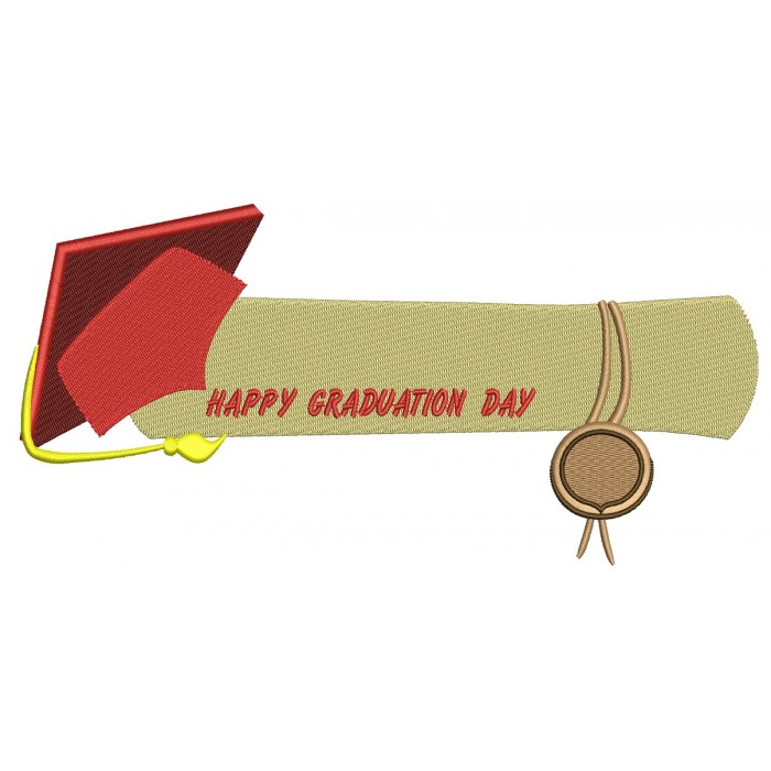 Happy Graduation Day School Filled Machine Embroidery Digitized Design Pattern