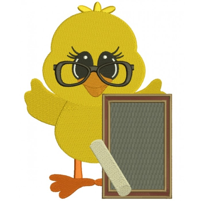 Little Baby Chick School Board Filled Machine Embroidery Digitized Design Pattern