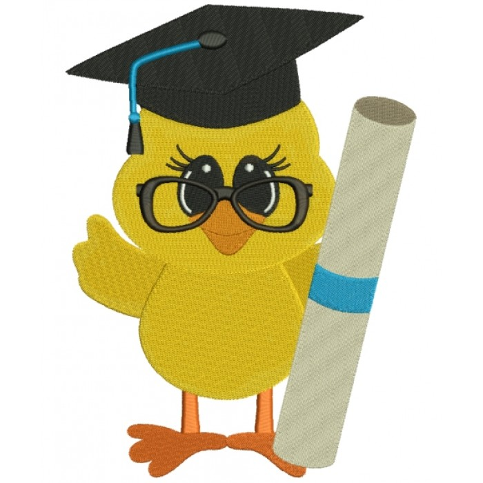 Little Baby Chick School Graduation Filled Machine Embroidery Digitized Design Pattern