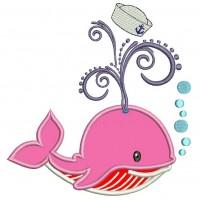 Little Baby Whale Blowing Bubbles Applique Machine Embroidery Digitized Design Pattern