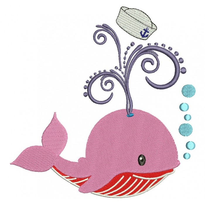 Little Baby Whale Blowing Bubbles Filled Machine Embroidery Digitized Design Pattern