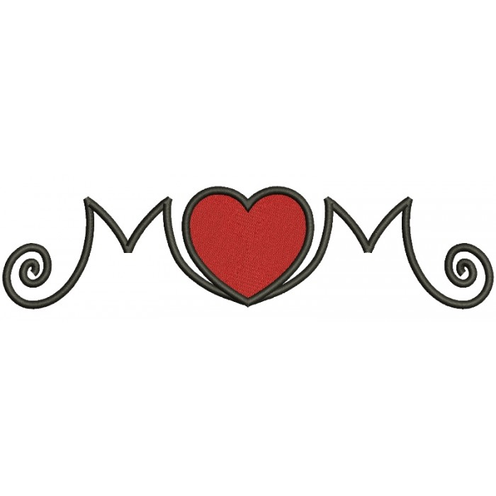 Mom Heart Filled Machine Embroidery Digitized Design Pattern