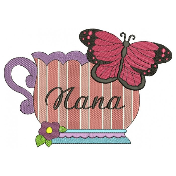 Nana Cup and Butterfly Filled Machine Embroidery Digitized Design Pattern