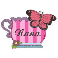 Nana Cup and Butterfly Applique Machine Embroidery Digitized Design Pattern