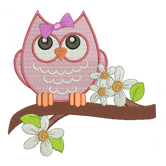 Owl On A Big Branch Filled Machine Embroidery Digitized