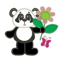 Panda with a Big Flower Applique Machine Embroidery Digitized Design Pattern