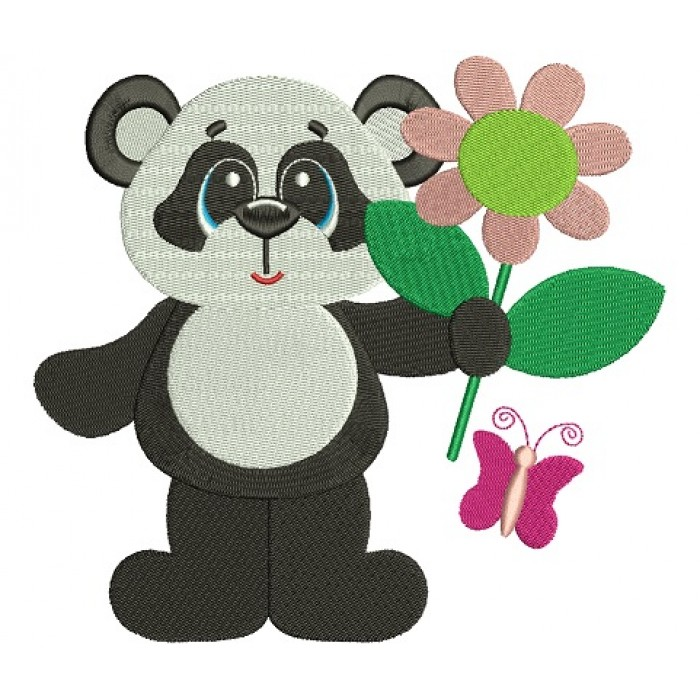 Panda with a Big Flower Filled Machine Embroidery Digitized Design Pattern