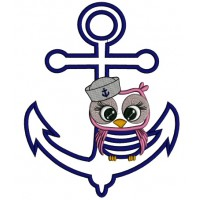 Sailor Owl Sitting on a Boat Anchor Applique Machine Embroidery Digitized Design Pattern