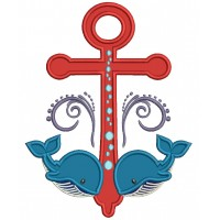 Two Whales and boat Anchor Applique Machine Embroidery Digitized Design Pattern