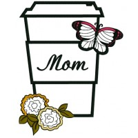 Mom Flower and Butterfly Applique Machine Embroidery Digitized Design Pattern