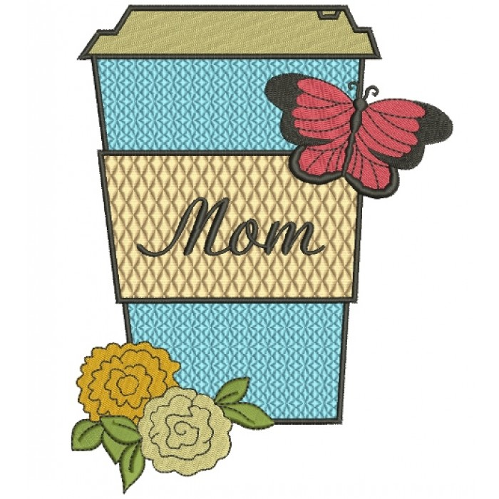 Mom Flower and Butterfly Filled Machine Embroidery Digitized Design Pattern