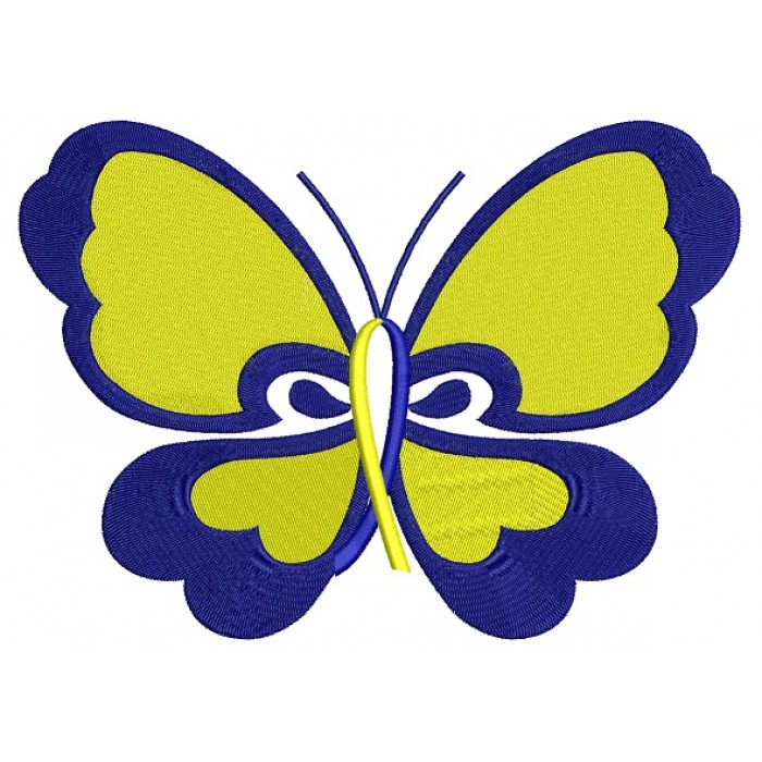 Butterfly Down Syndrome Awareness Filled Machine Embroidery Digitized Design Pattern