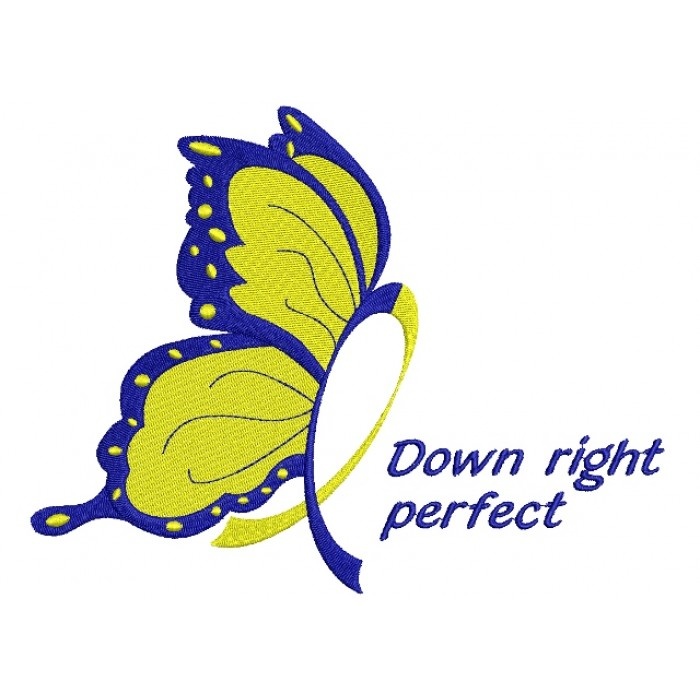 Down Right Butterfly Down Syndrome Awareness Filled Machine Embroidery Digitized Design Pattern