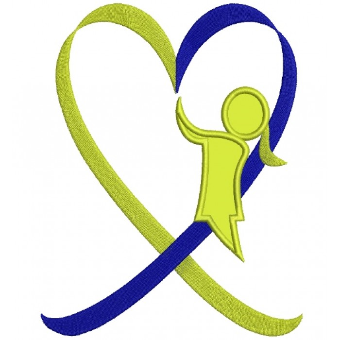 Down Syndrome Awareness Heart Girl Applique Machine Embroidery Digitized Design Pattern