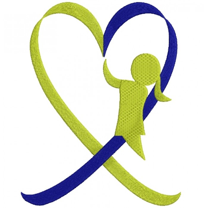 Down Syndrome Awareness Heart Girl Filled Machine Embroidery Digitized Design Pattern