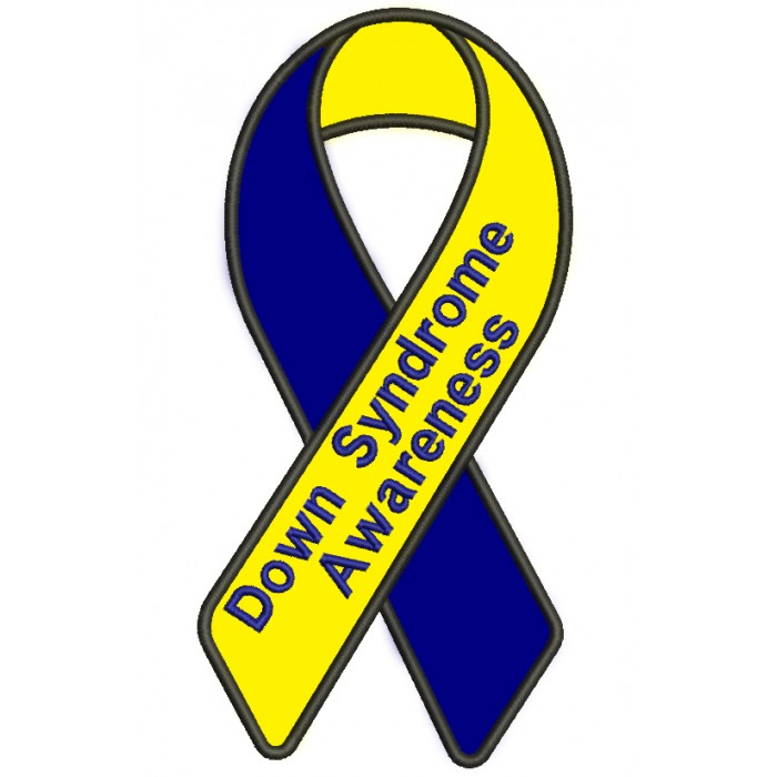 Down Syndrome Awareness Ribbon Applique Machine Embroidery Digitized Design Pattern