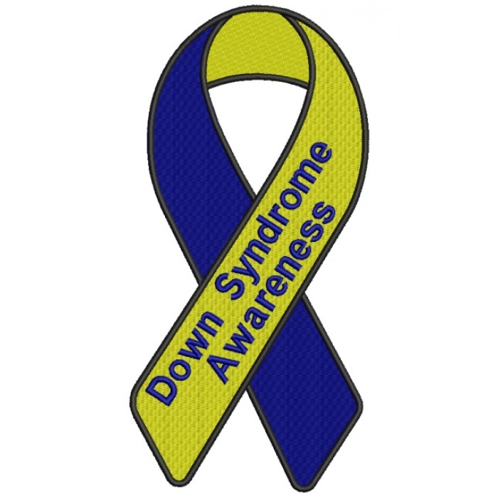 Down Syndrome Awareness Ribbon Filled Machine Embroidery Digitized Design Pattern