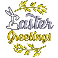 Easter Greetings  Bunny Applique Machine Embroidery Design Digitized Pattern