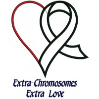 Extra Chromosome Extra Love Heart Down Syndrome Awareness Applique Machine Embroidery Digitized Design Pattern