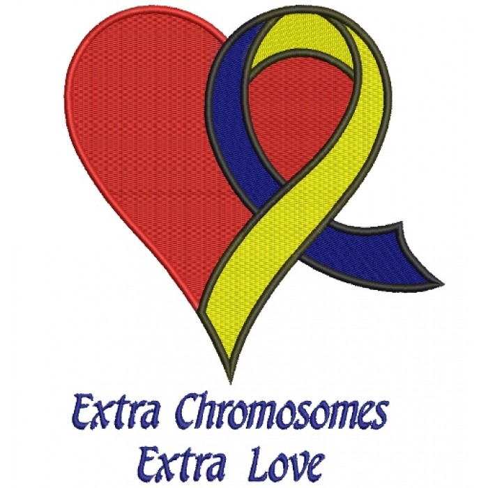 Extra Chromosome Extra Love Heart Down Syndrome Awareness Filled Machine Embroidery Digitized Design Pattern