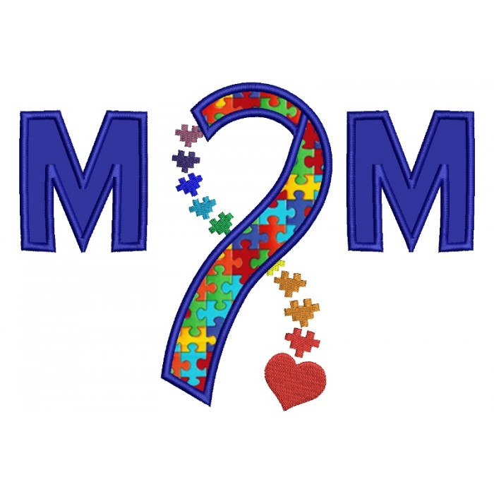 Mom Autism Awareness Ribbon with heart Applique Machine Embroidery Digitized Design Pattern