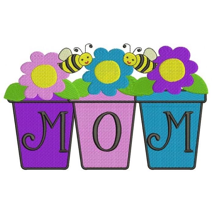 Mom Flower Pot with Flowers and Bees Filled Machine Embroidery Digitized Design Pattern
