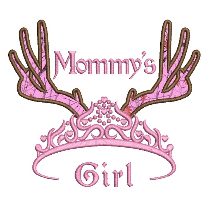 Mommys Girl Tiara With Antlers Hunting Applique Machine Embroidery Digitized Design Pattern