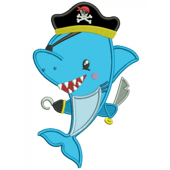 Pirate Shark Applique Machine Embroidery Design Digitized Pattern