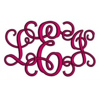 1,2, 3 Inches Vine Monogram Interlocking Embroidery Font Upper and Lower Case Satin Stitch Digitized