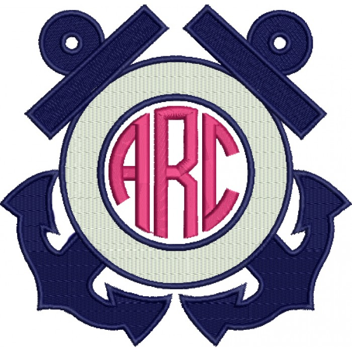 Anchors Monogram Marine Filled Machine Embroidery Digitized Design Pattern