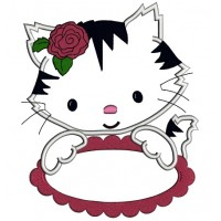 Cute Kitten with a Flower Applique Machine Embroidery Digitized Design Pattern