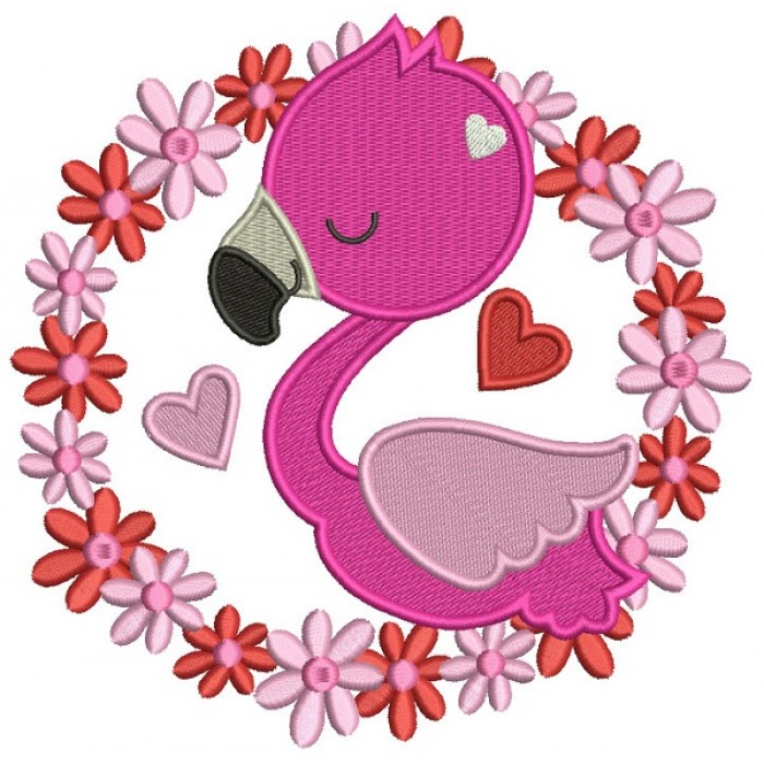 Flamingo In a Round Flower Frame Filled Machine Embroidery Design Digitized Pattern
