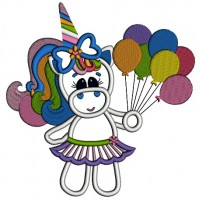 Girl Rainbow Unicorn with balloons Applique Machine Embroidery Digitized Design Pattern
