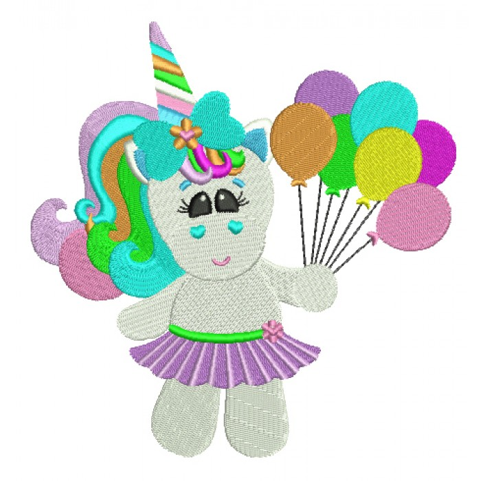 Girl Rainbow Unicorn with balloons Filled Machine Embroidery Digitized Design Pattern