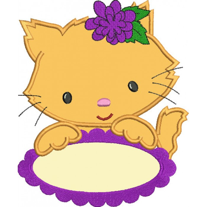 Little Kitten with Oval Table Applique Machine Embroidery Digitized Design Pattern