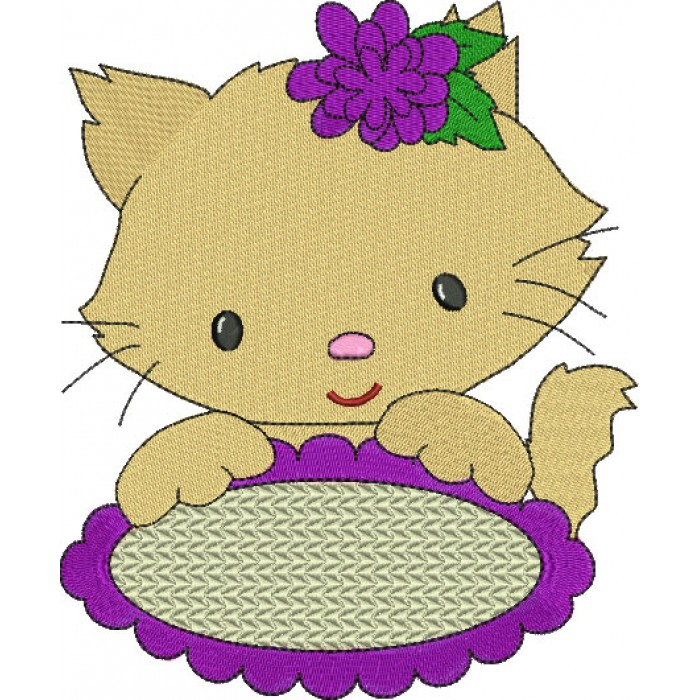 Little Kitten with Oval Table Filled Machine Embroidery Digitized Design Pattern